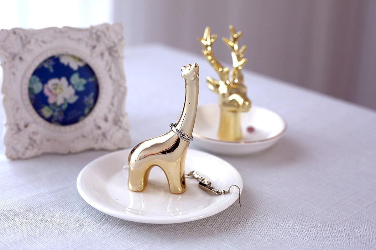 Creative Golden Giraffe White Ring Holder Dish