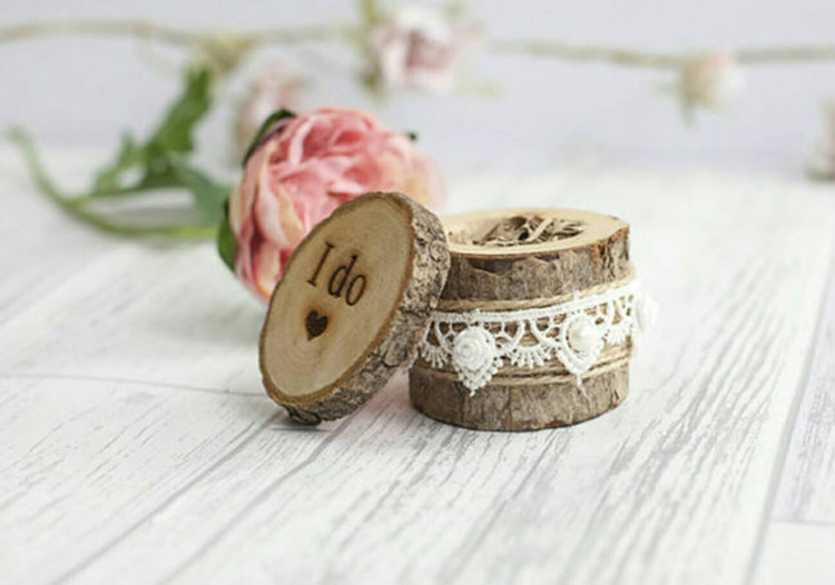 rustic oval shaped wooden trunk wedding ring holder box - Wedding Ring Holder