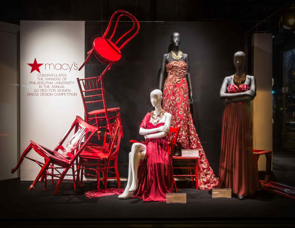On the occasion of Valentine's day, Macy's is promoting through red objects and clothes in their window display, the heart health.
