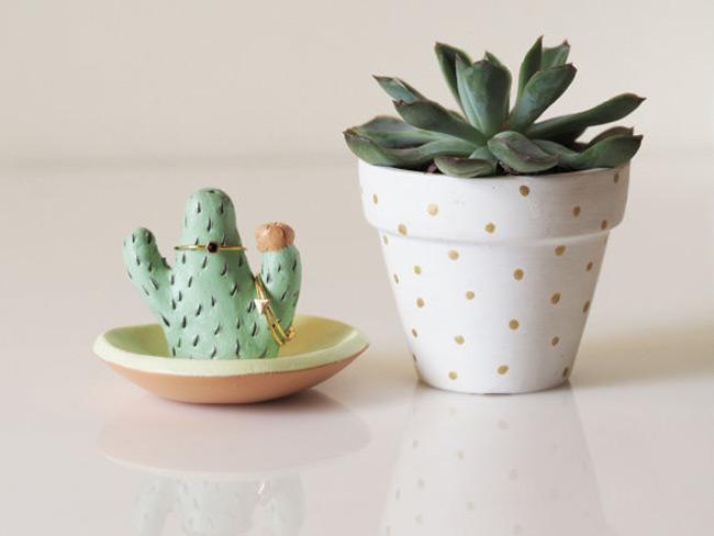 Cactus Figurine Ring Holder Dish