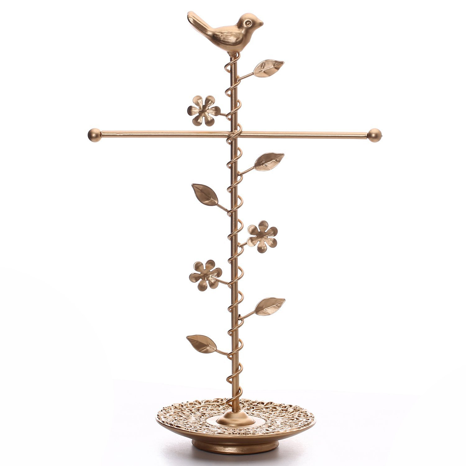 Rose Gold Tall Jewelry Holder with Ring Tray
