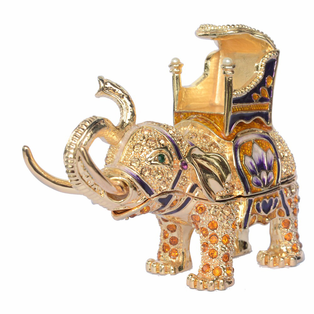 Intricate Decorative Golden Elephant Ring Holder
