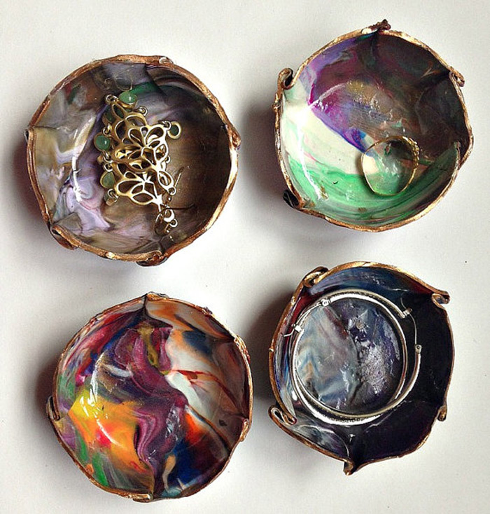 Creative Painted Multicolored Ring Holder Dish Set