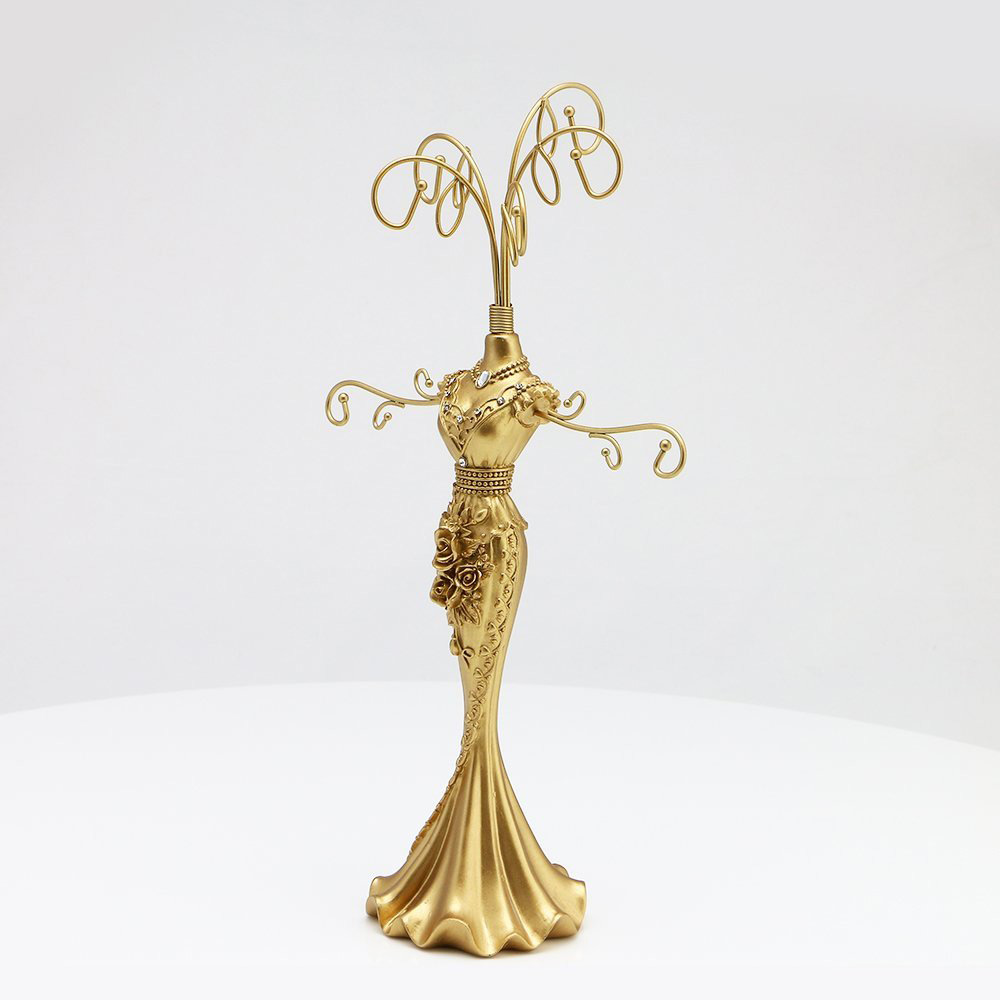 Tall Lady Figurine Gold Jewelry Holder