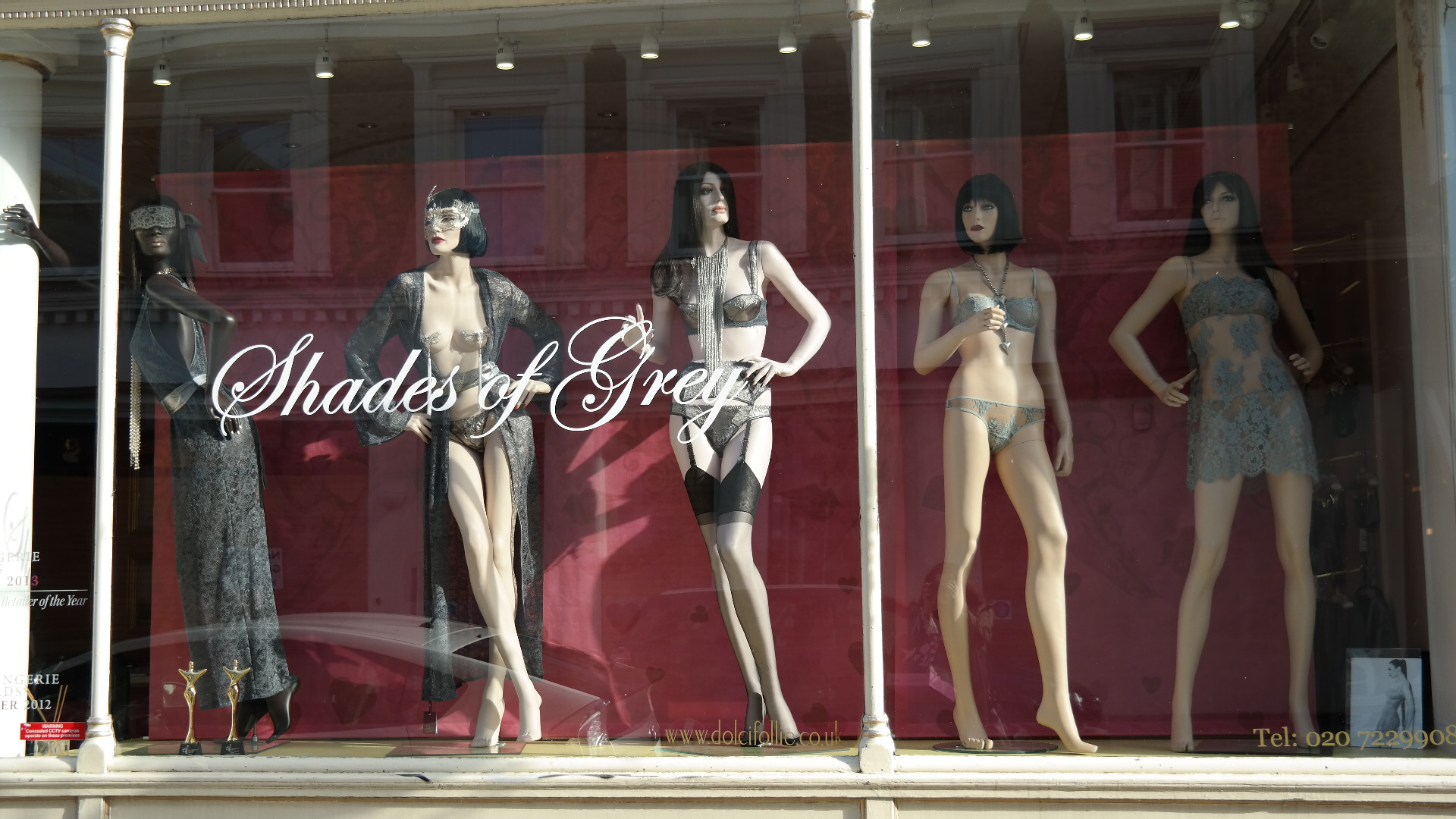 An erotic shop with lingerie in shades of grey, a top design for Valentine's day event.