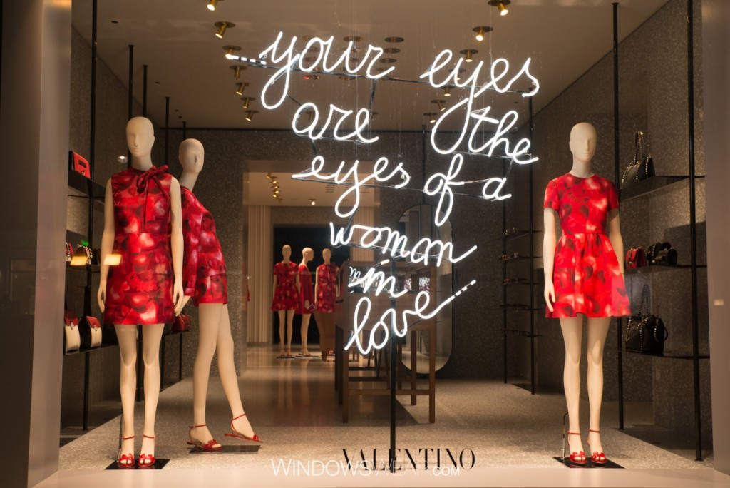 "Valentino for Valentine's day has flowers print on dressed and a love message which says ""your eyes are the eyes of a woman in love"""