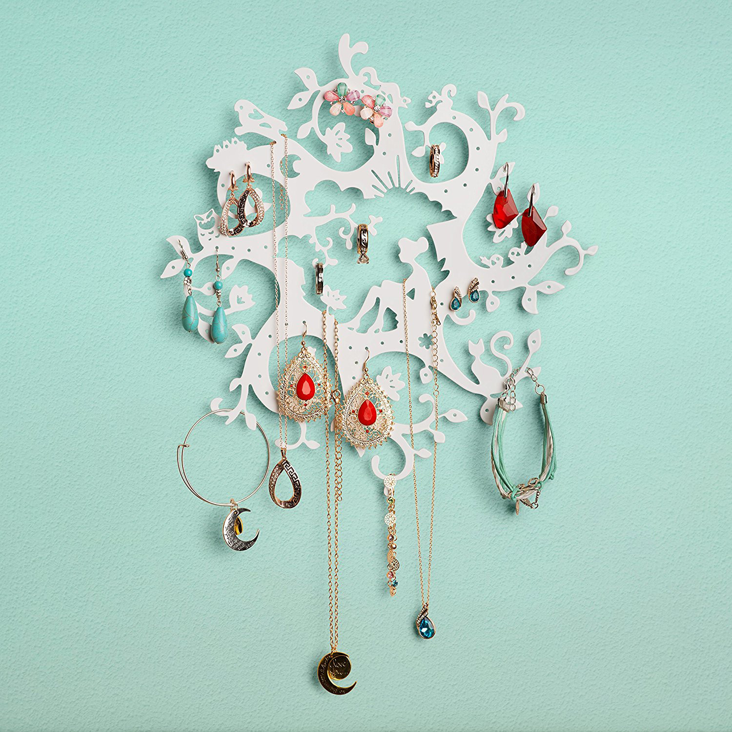 Abstract White Wall Mounted Jewelry Holder