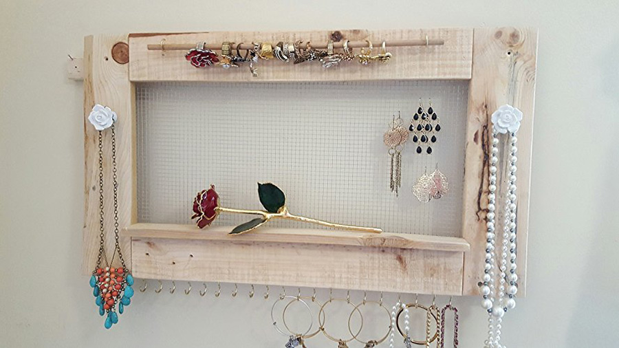 Wooden Wall Hanging Wire Frame Jewelry Holder