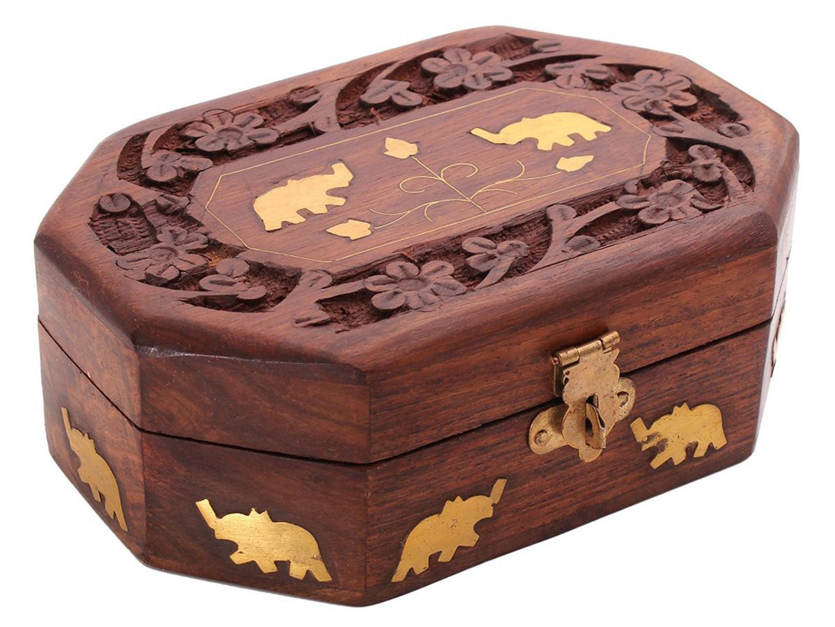 Wooden Elephant Engraved Jewelry Box