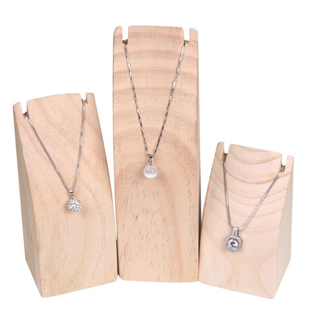 Minimalist Natural Wood Necklace Holders Set
