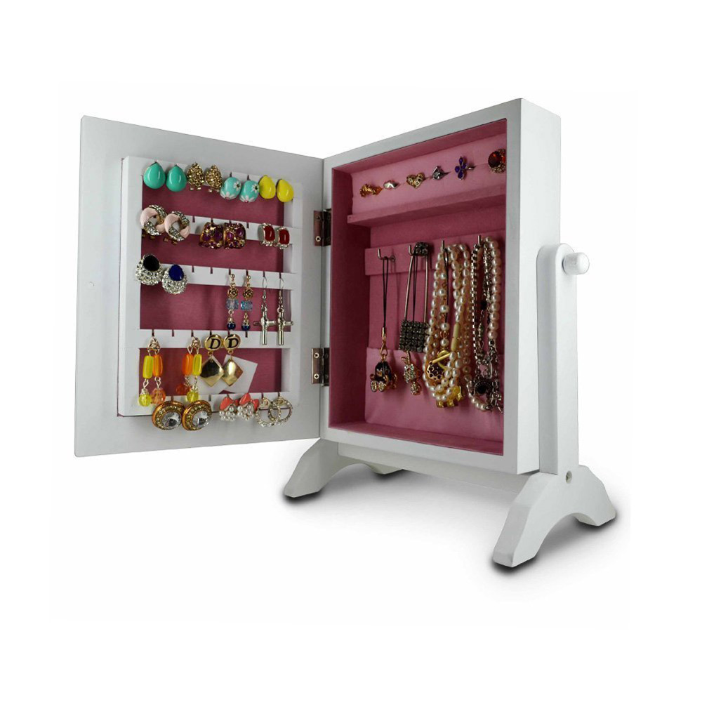 White Mini-Armoire Wooden Jewelry Holder