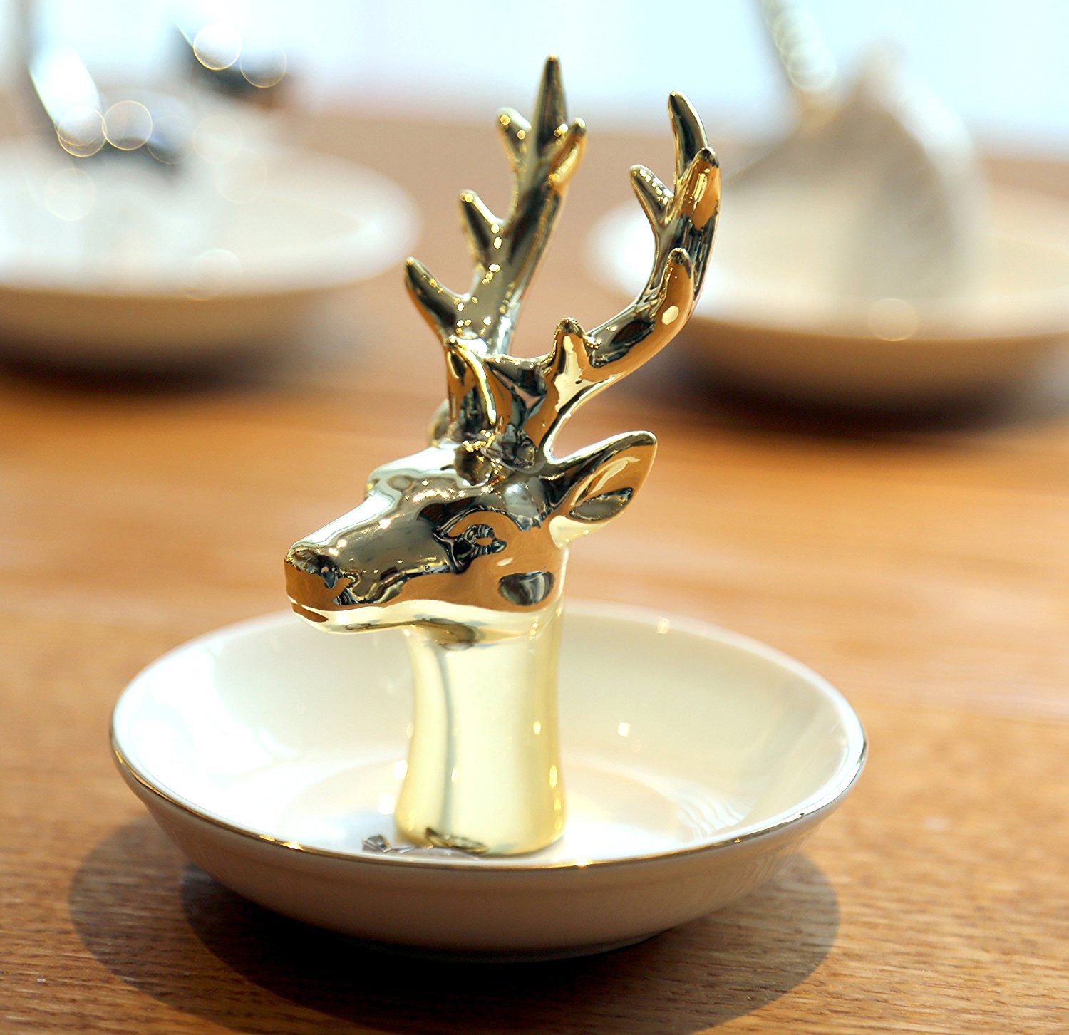 Creative Antler Head Ring Dish Tray Gold Jewelry Holder
