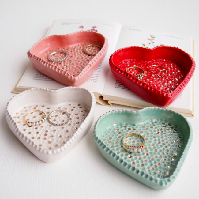 Colored Heart Shaped Ring Dish Holders