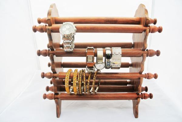 Elegant Wooden Multi Tier Bangle Holders & Watch Holders