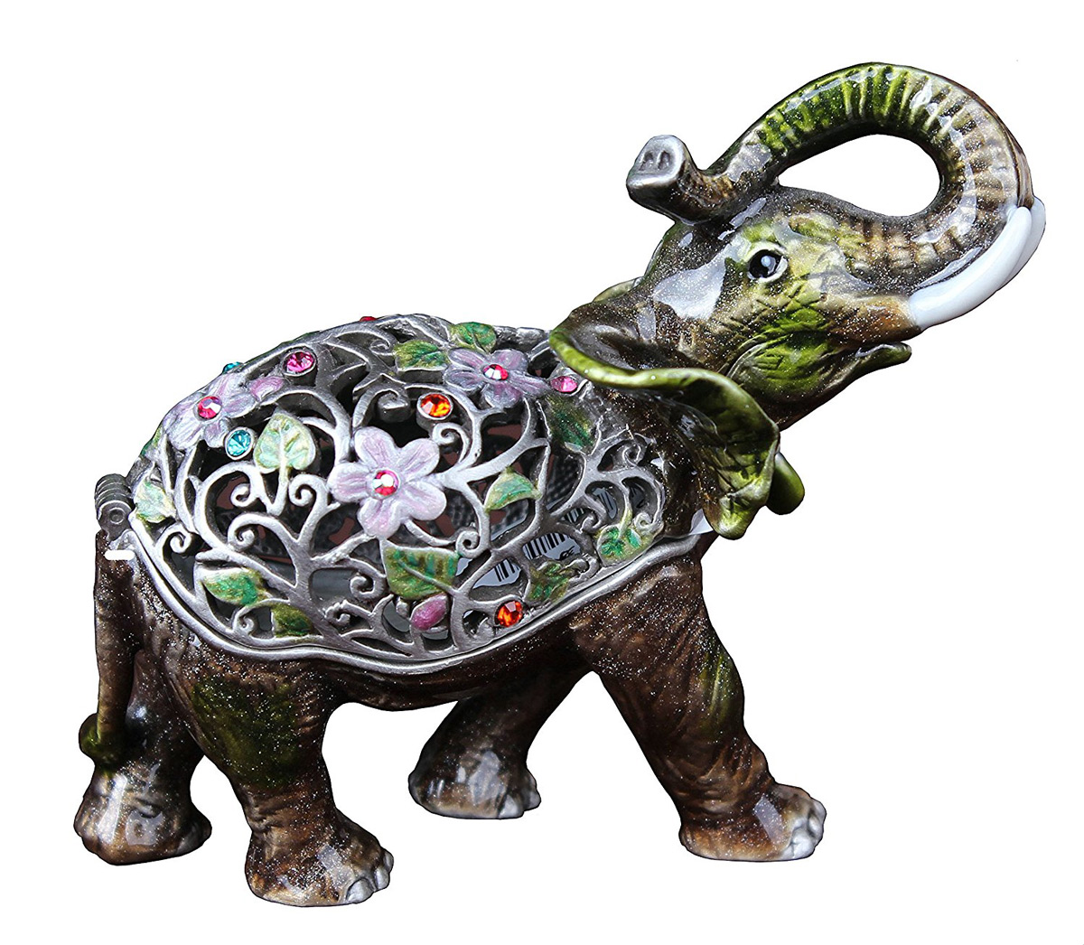 Intricate Pewter Decorative Elephant Ring Holder