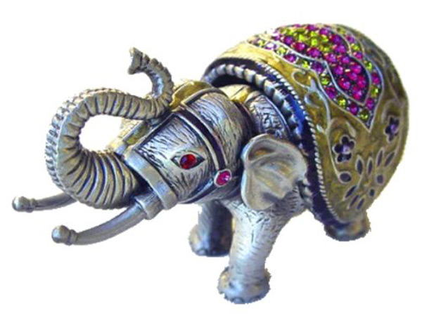 Intricate Colored Stone Elephant Ring Holder