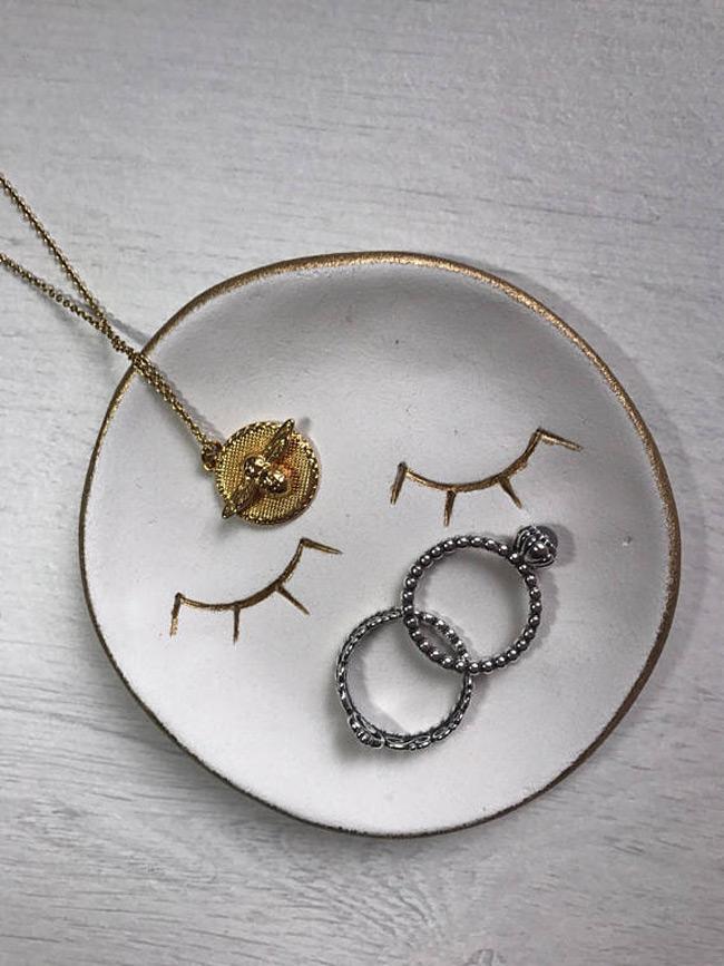 Simple Gold Edge White Ring Holder Dish