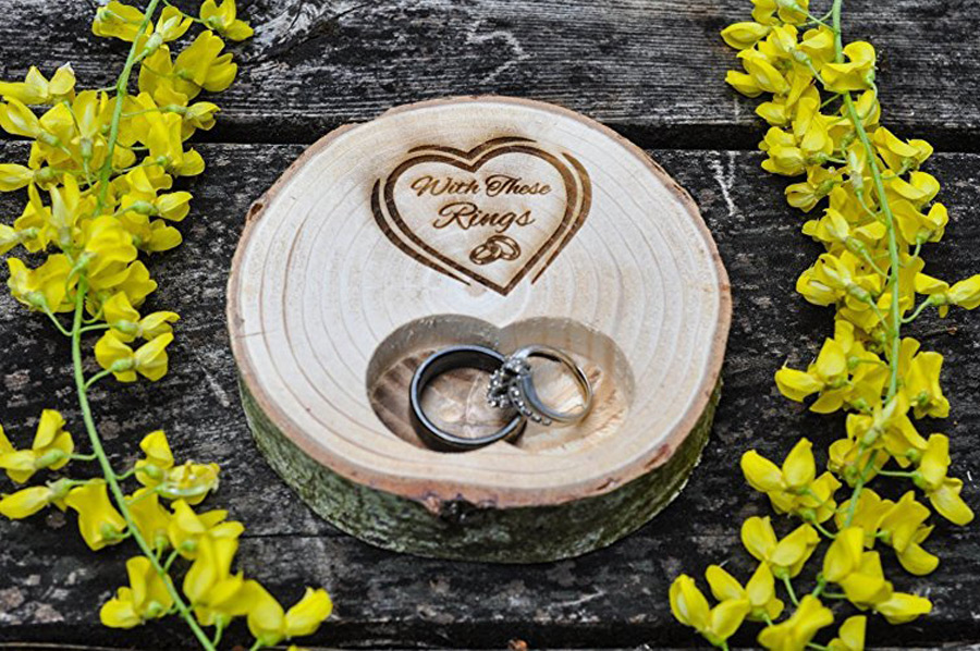 Wooden Trunk Shaped Engraved Wedding Rings Holder