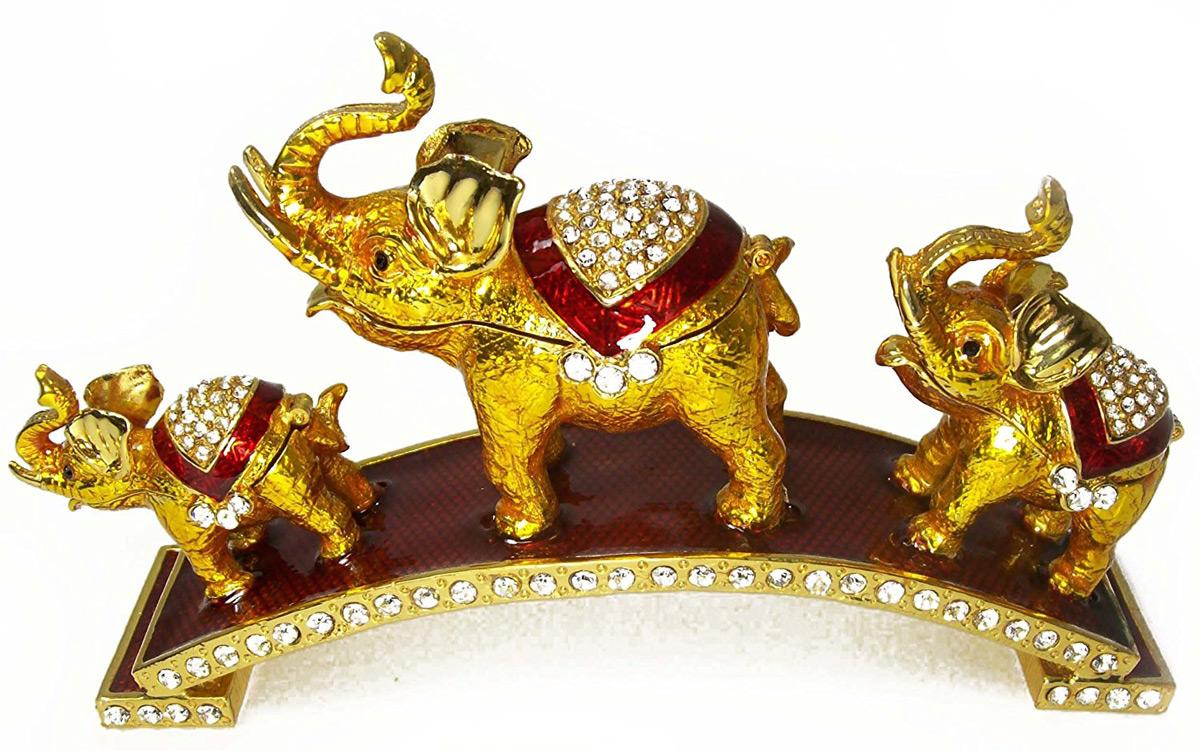 Triple Golden Elephant Ring Holders Set