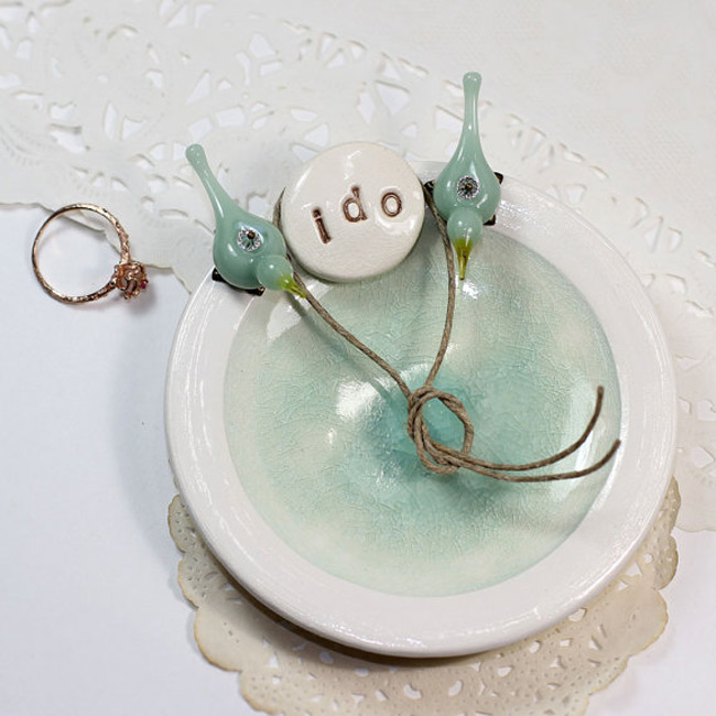 Perched Birds Ring Holder Dish