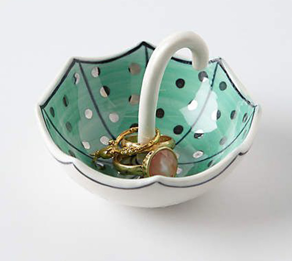 Creative Umbrella Shaped Ring Holder Dish