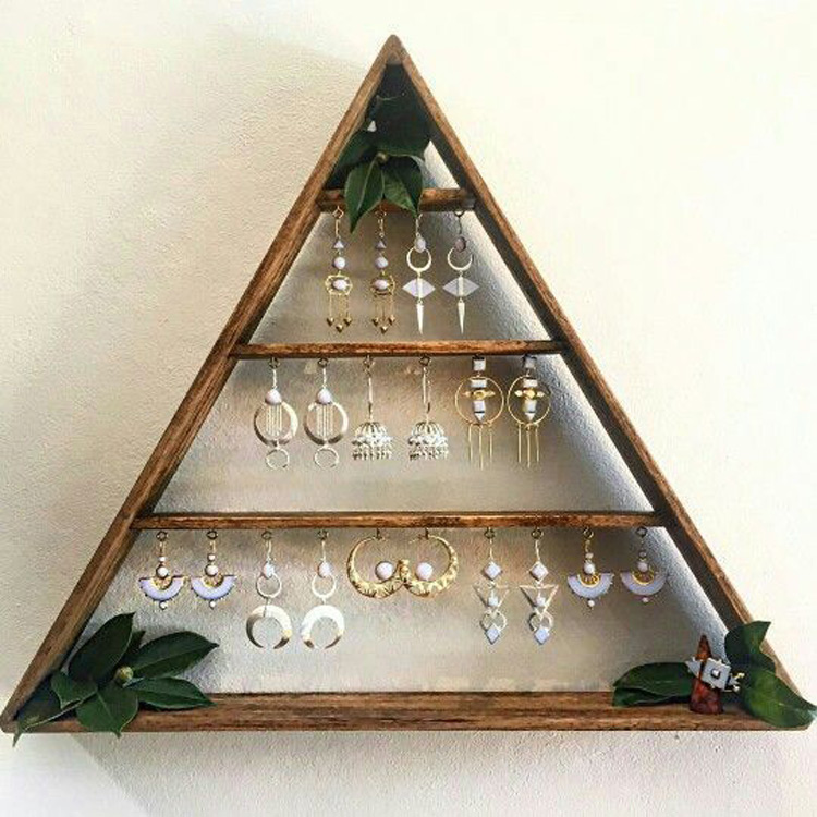 Hanging Pyramid Shaped Earrings Holder