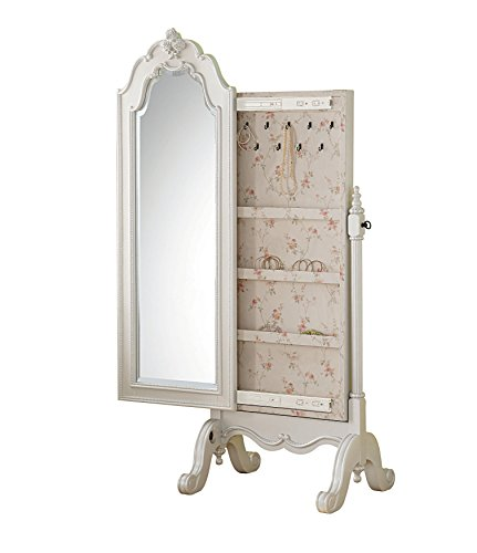 Valene Straight Floor Standing Large Cheval Mirror Pearl White ...