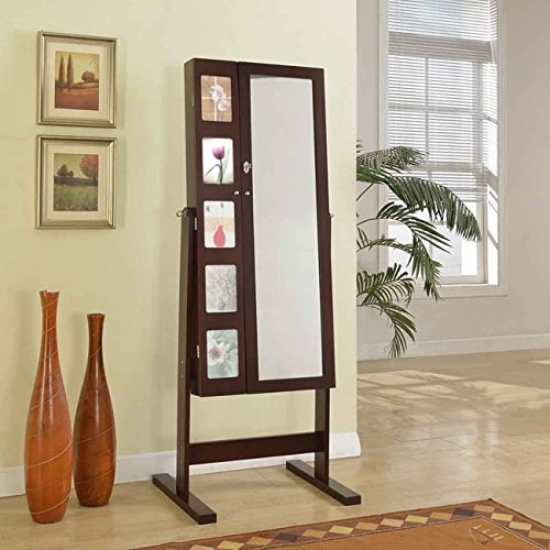 Brown Frame Free-Standing Cheval Mirror Double Door Photo Frames ...