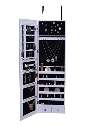 Premium White Wooden Over The Door Wall Mounted Jewelry Armoire