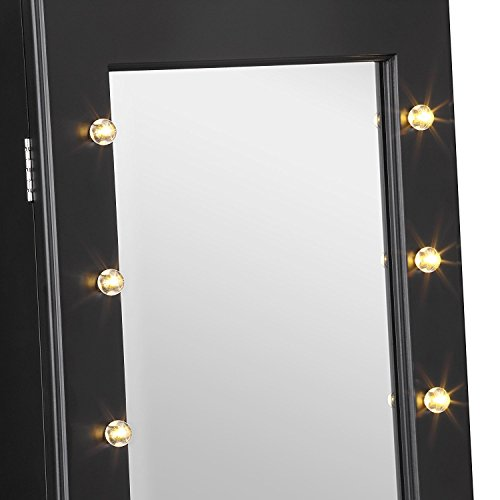 Beautify Mirrored Jewelry Makeup Armoire With Led Lights