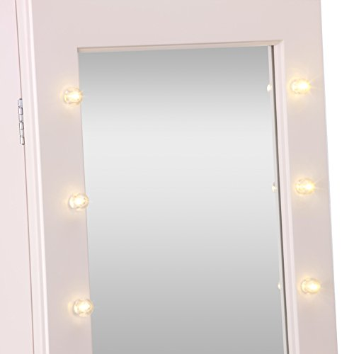 Beautify Mirrored Jewelry Makeup Armoire with LED Lights ...