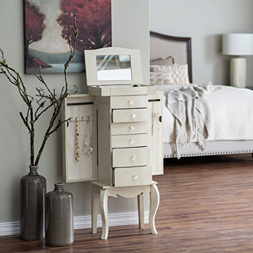 Shabby chic waterford white modern free standing jewelry for Belham living shabby chic waterford jewelry armoire