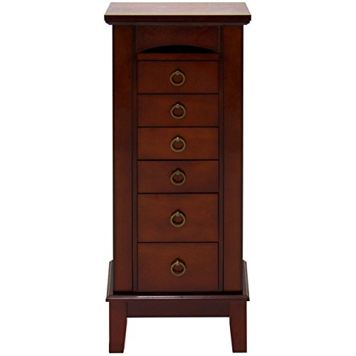 Elegant tall wooden floor standing jewelry armoire