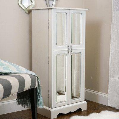 Cream White Mirrored Doors Floor Standing Large Jewelry Cabinet