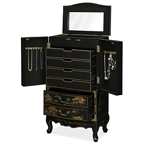 hand painted chinese design theme black wall standing jewelry armoire zen merchandiser. Black Bedroom Furniture Sets. Home Design Ideas