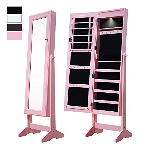 cloud mountain pink full length mirror jewelry armoire with led lights zen merchandiser. Black Bedroom Furniture Sets. Home Design Ideas