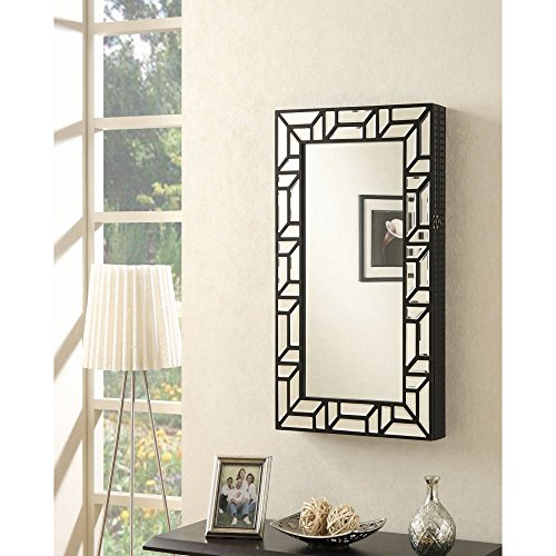 Elegant Modern Black Decorative Frame Full Length Mirror Wall Mounted Jewelry Armoire