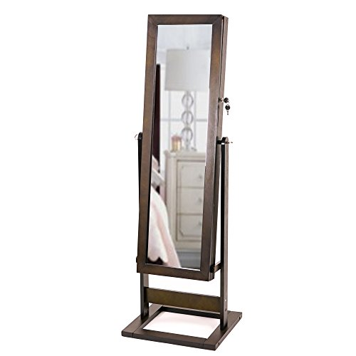 Elegant Espresso Brown Floor Standing Cheval Mirror Jewelry Armoire