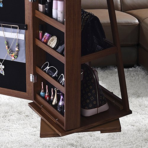 Facilehome Rotatable Swivel Jewelry Cabinet Armoire with ...