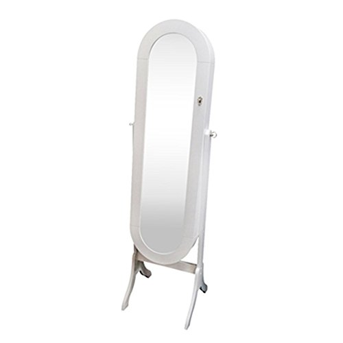 Classic White Oval Full Length Floor Standing Mirror Jewelry Armoire ...