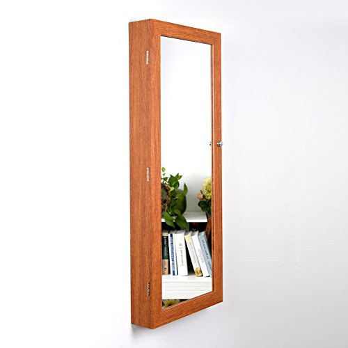 Mirror Lockable Over The Door Hanging Oak Storage Cabinet Armoire