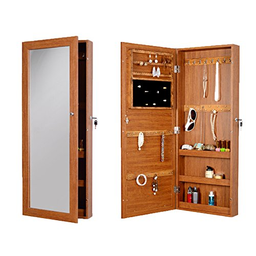 Full Length Mirror Lockable Over The Door Hanging Oak Storage