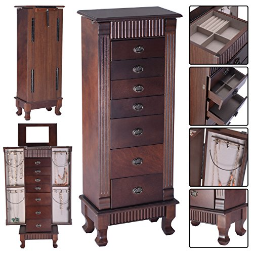 Giantex Standing Jewelry Armoire Cabinet Storage Chest