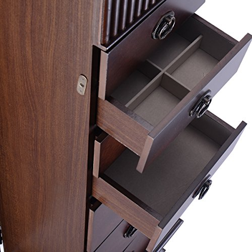 Large Classic Wooden Tall Standing Massive Jewelry Armoire Zen
