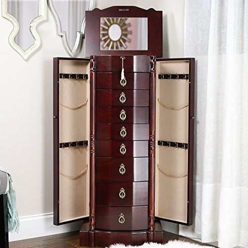 Robyn Wooden Cherry Finish Tall Large Wall Standing Jewelry Armoire