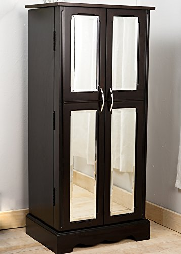 Leah Massive Wooden Espresso Finish French Mirrored Doors Standing