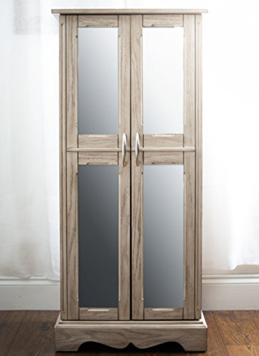 Gray Distressed Wood Mirrored Doors Large Wall Standing Jewelry