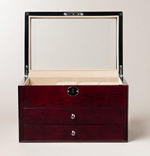 Simple 3 Drawer Cherry Locking Jewelry Chest Jewelry Storage Box