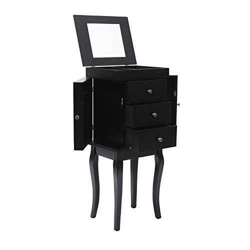 33 Small Modern Standing Jewelry Storage Armoire With Flip Top Vanity Mirror