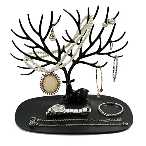 Deer Stand Window Designs : Beautiful multicolored jewelry tree holder with large tray